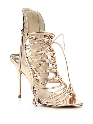 Lacey Metallic Leather Lace-Up Sandals