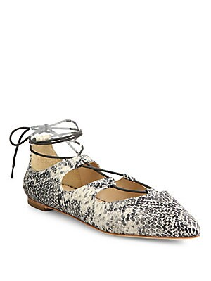 Ambra Point Toe Snake-Print Leather Lace-Up Flats