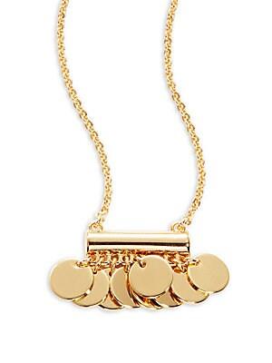 Goldtone Disc Pendant Necklace