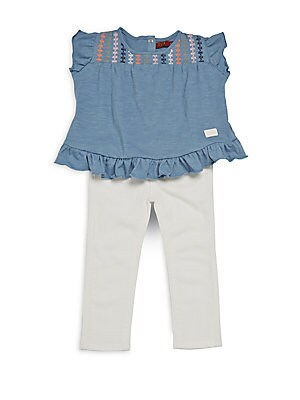 Baby's Two-Piece Ruffled Top & Bottom Set