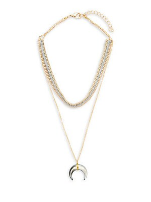 Layered Horn Pendant Necklace