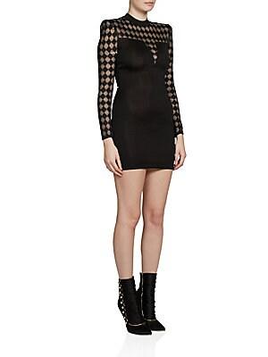 Diamond-Pattern Mini Dress