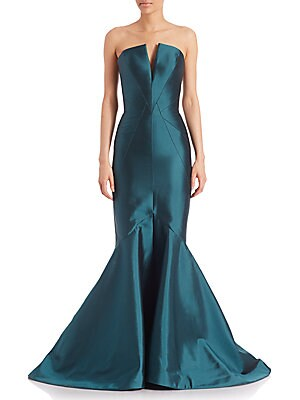 Strapless Paneled Mermaid Gown