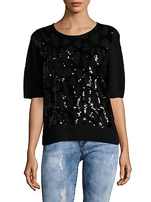 Wool-Blend Sequined Top