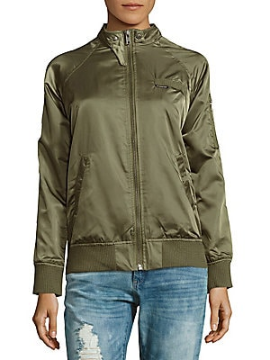 Raglan-Sleeve Camo-Print Jacket