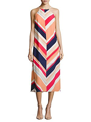 Halterneck Sleeveless Striped Dress