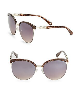 57MM Tortoiseshell Round Sunglasses