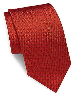 Textured-Motif Silk Tie