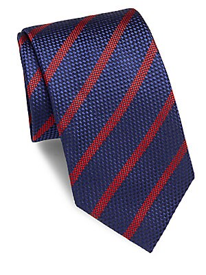 Striped Embossed Silk Tie