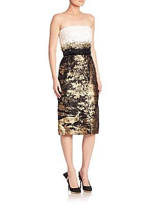 Strapless Jacquard Cocktail Dress