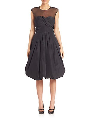 Bubble Hem Silk Cocktail Dress