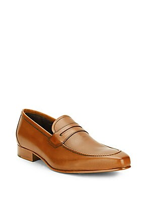 Stacked-Heel Leather Penny Loafers