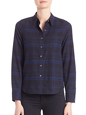 Kate Moss for Equipment Landon Cotton Plaid Shirt