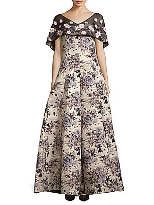 badgley mischka female floralmotif brocade gown