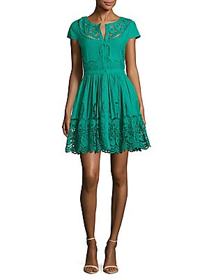 Kaley Embroidered Button-Front Dress