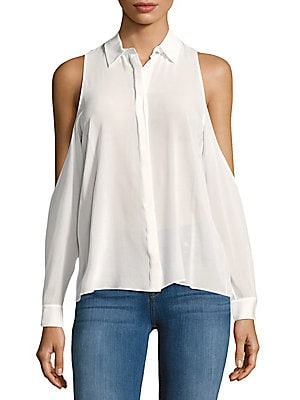 Brandie Silk-Blend Cold-Shoulder Shirt