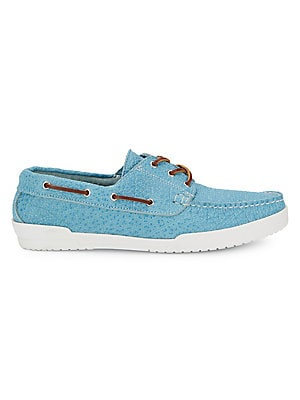 Textured Leather Boat Shoes