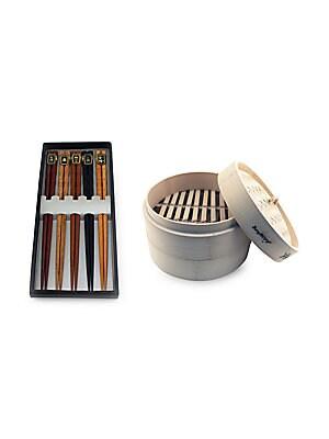 Bamboo Steamer & Chopstick- 11 Piece