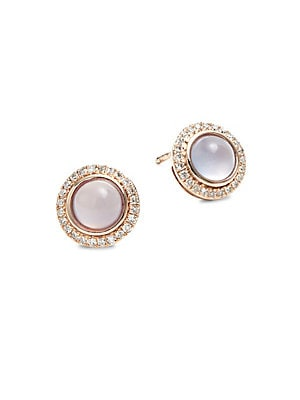 Diamond, Chalcedony & 14K Rose Gold Stud Earrings