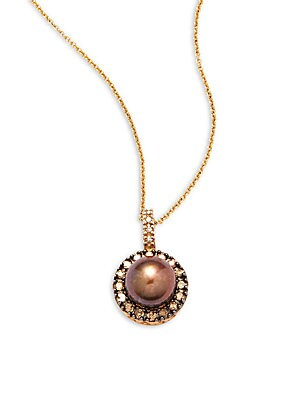Click here for Fresh Water Pearl  Diamond  Brown Diamond & 14K Ye... prices