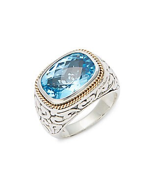 Blue Topaz, 18K Yellow Gold & Sterling Silver Ring