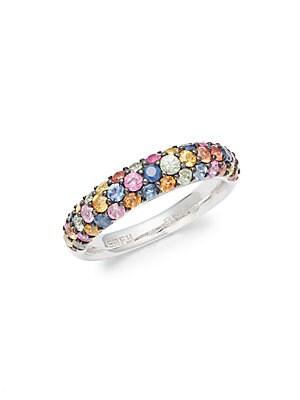 Rainbow Sapphire, Pink Sapphire, Orange Sapphire & Sterling Silver Ring
