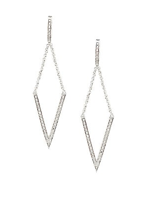 Diamonds & Sterling Silver Rhombus Earrings