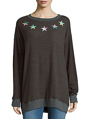 Star-Print Heathered Tee