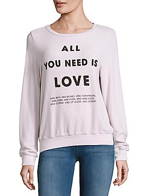 Letter-Printed Long-Sleeve Sweatshirt