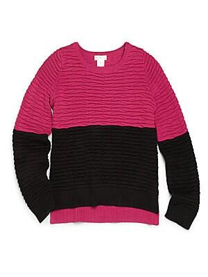 Girl's Colorblock Hi-Lo Sweater