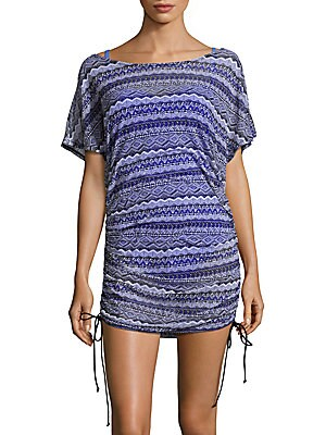 Mesh Printed Tunic Coverup