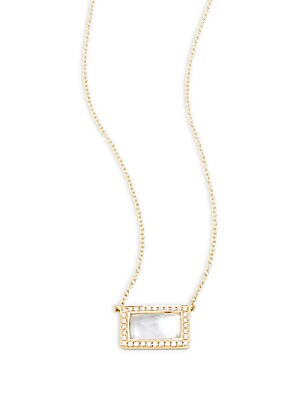 18K Yellow Gold, Diamond & Mother-Of-Pearl Necklace