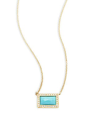 Click here for 18K Yellow Gold  Diamond & Turquoise Necklace prices