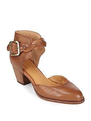 Burlap Leather Ankle-Strap Pumps