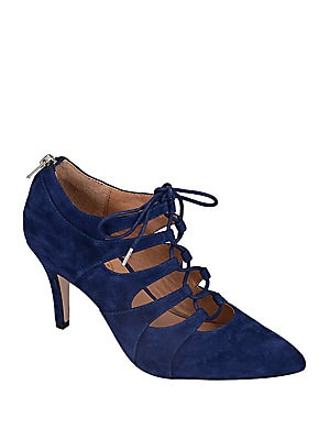 Cocktail Suede Lace-Up Pumps