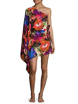 Floral-printed One-shoulder Silk Coverup
