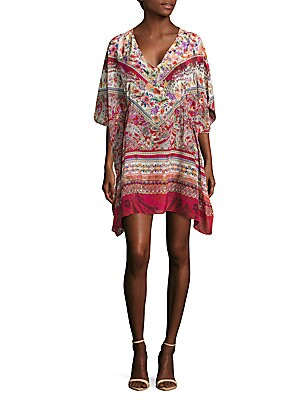Printed Silk Caftan Dress