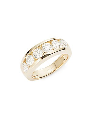 Diamond & 14K Yellow Gold Band Ring