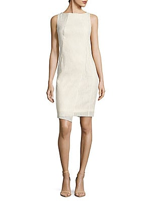 Boatneck Embroidered Sheath Dress
