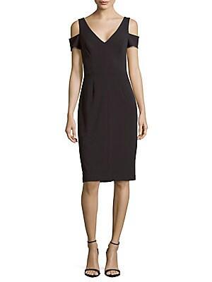Crepe Cold-Shoulder Sheath Dress