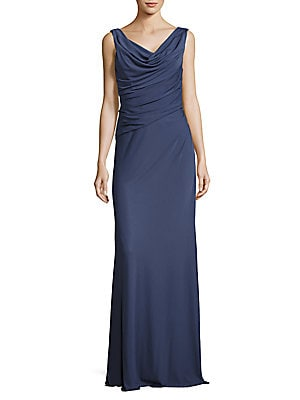 Cinched Cowlneck Gown