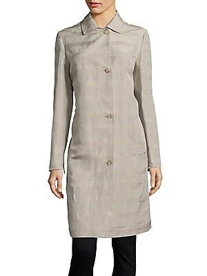 Windowpane Pattern Long-Sleeve Jacket