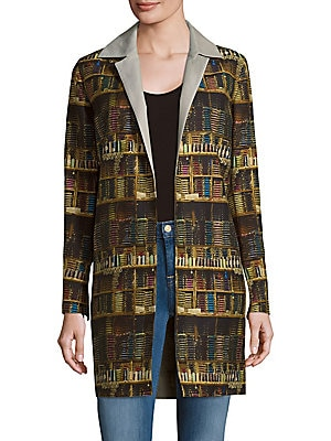 Printed Cotton-Blend Open-Front Jacket