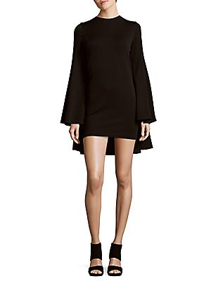 Caped Wool-Blend Mini Dress