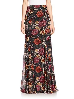 Poseidon Silk Floral-Print Maxi Skirt