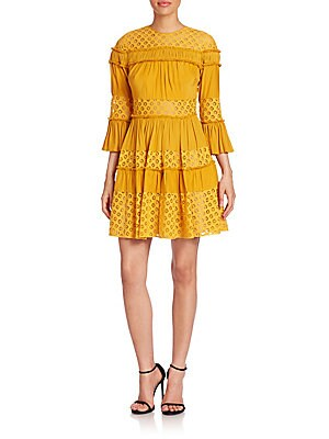 Octavia Ruffle Paneled Fit-&-Flare Dress