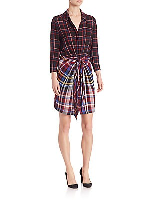 Kylie Plaid Tie-Front Shirtdress