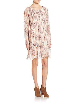Paisley Printed Long Sleeve Dress