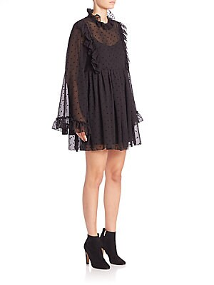 Sheer Pleated Long Sleeve Dress