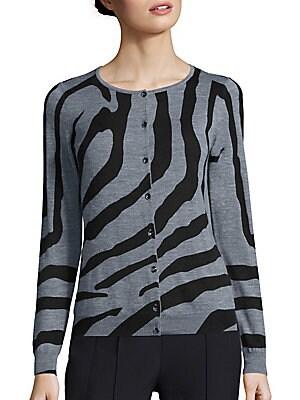 Zebra-Print Wool Cardigan